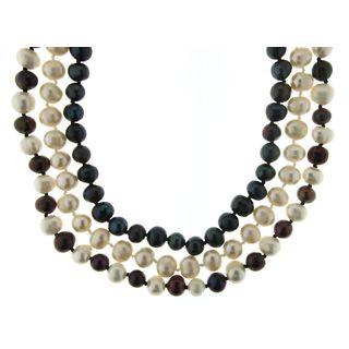 Neda Behnam Soho Boutique Sterling Silver Black/ White Multicolor 3-piece Freshwater Pearl Neclace