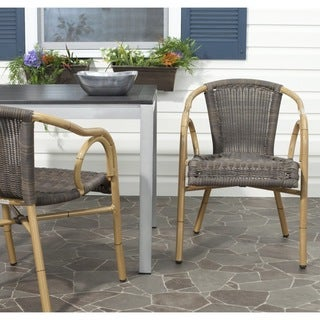 Safavieh Indoor/ Outdoor Dagny Chocolate Arm Chair (Set of 2)