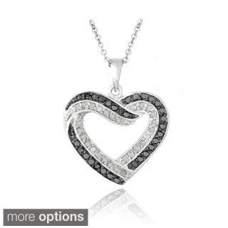 DB Designs 1/2ct TDW Black and White Diamond Heart Necklace