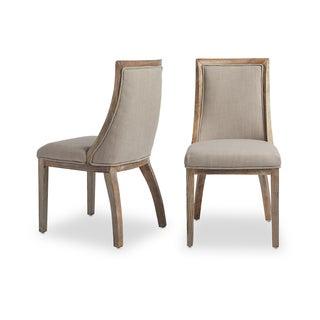 Park Avenue Beige Linen Dining Chairs (Set of 2)