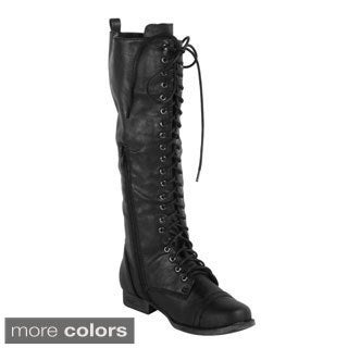 Womens Size 12 Black Lace Up Boots 98