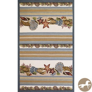 Hand-woven Seashells Ivory Area Rug (5' x 7'6)