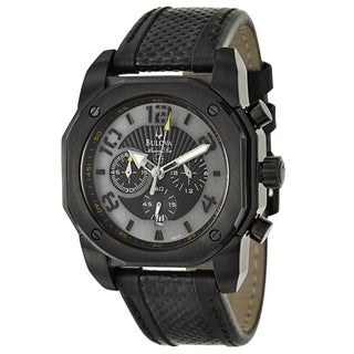 Bulova Men's 98B151 'Marine Star' Black Stainless Steel Chronograph Military Time Watch