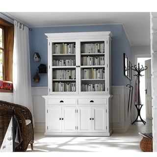 Interior White Kitchen Buffet with Double Glass Door Hutch