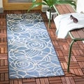 Safavieh Indoor/ Outdoor Courtyard Blue/ Beige Rug (2'4 x 14')