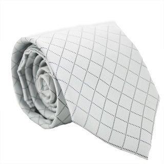 Ferrecci Silver/ Gray Diamond Checkered Neck Tie and Handkerchief Set