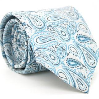 Ferrecci Slim Tourquoise Paisley Necktie with Matching Handkerchief - Tie Set