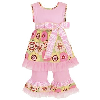 AnnLoren Girl's Pink and Green Floral Tunic and Capri Set