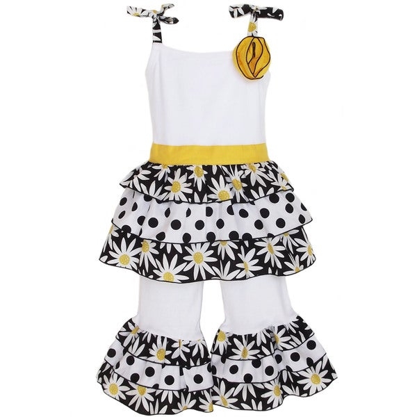 AnnLoren Girl's Daisy & Dots Rumba Shirt & Capri Set