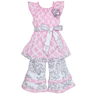 AnnLoren Girl's Pink & Grey Lattice Damask Shirt & Capri Set