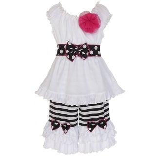 AnnLoren Girl's Black & White Cotton Capri Tunic Set
