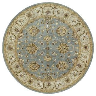 Hand-tufted Royal Taj Aqua Wool Area Rug (7'9 Round)