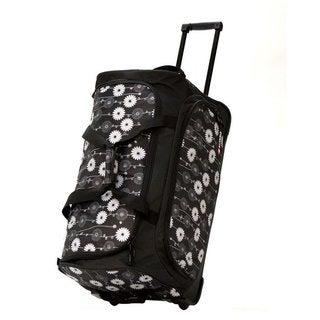 Olympia 26-inch Fashion Printed Daisy Rolling Upright Duffel Bag