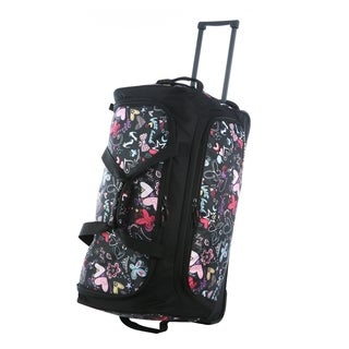 Olympia 26-inch Fashion Printed Butterfly Rolling Upright Duffel Bag