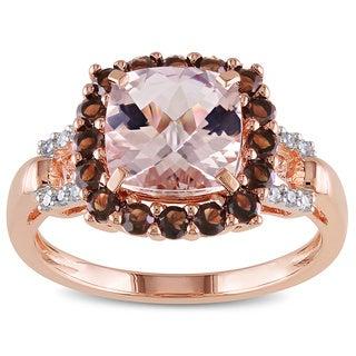 Miadora Rose Flashplated Silver Morganite, Smokey Quartz and Diamond Accent Ring