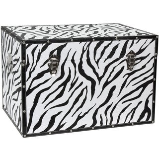 Zebra Print Faux Leather Trunk