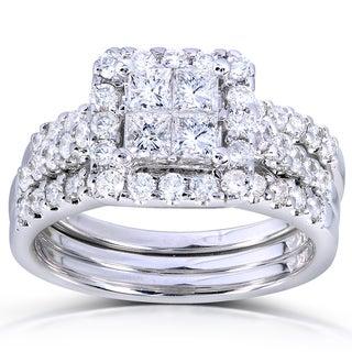 Annello 14k White Gold 1 7/8ct TDW Princess Quad Diamond 3-Ring Bridal Set (H-I, I1-I2)