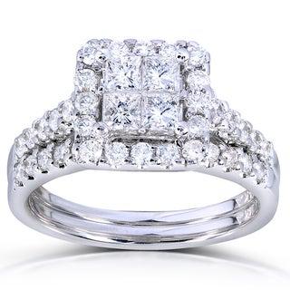 Annello 14k White Gold 1 5/8ct TDW Princess Quad Diamond 2-ring Bridal Set (H-I, I1-I2)