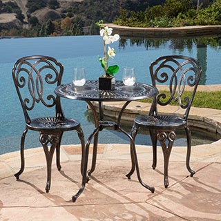 Christopher Knight Home Cornwall 3-piece Cast Aluminum Outdoor Bistro Set