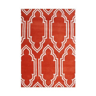 Alliyah Handmade Red New Zealand Blended Wool Rug (5' x 8')