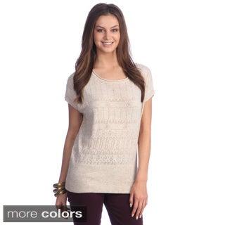 Hadari Women's Open-knit Short Sleeve Sweater