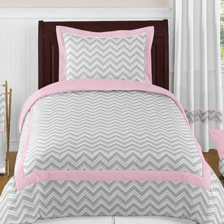 Sweet Jojo Designs Girls 'Chevron' 4-piece Twin Comforter Set