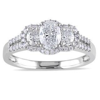 Miadora 14k White Gold 1ct TDW IGL-certified Oval Diamond Ring (G-H, I1)