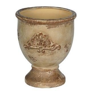 Medium Round Antique Yellow Ceramic Pot