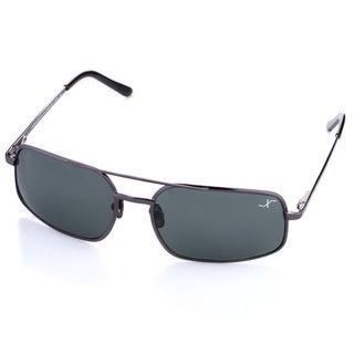 Xezo Men's 'Air Commando' Black Chrome Titanium Polarized Sunglasses