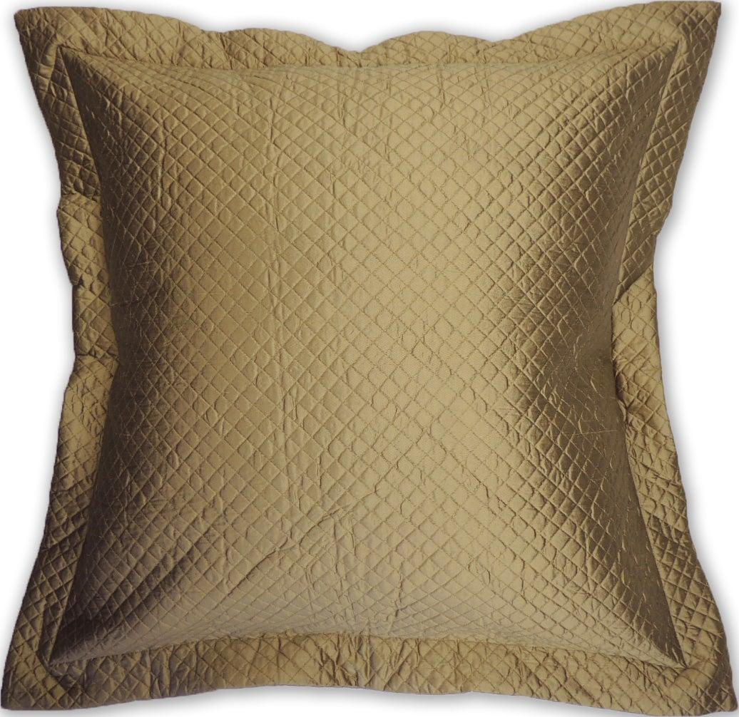 Gold Quilted Silk Euro Sham