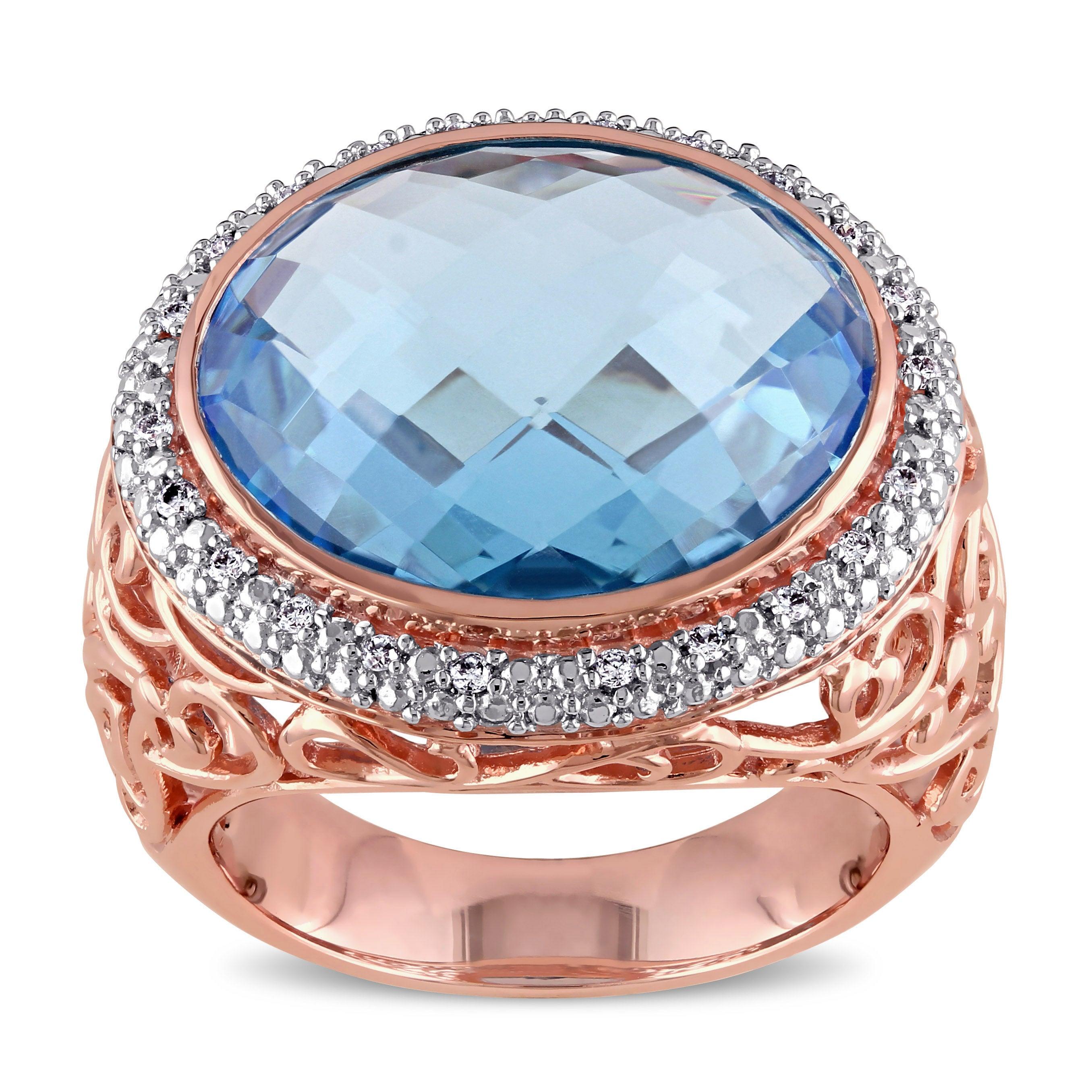 Miadora 14k Rose Gold Blue Topaz 1/10ct TDW Diamond Cocktail Ring (G-H, SI1-SI2)