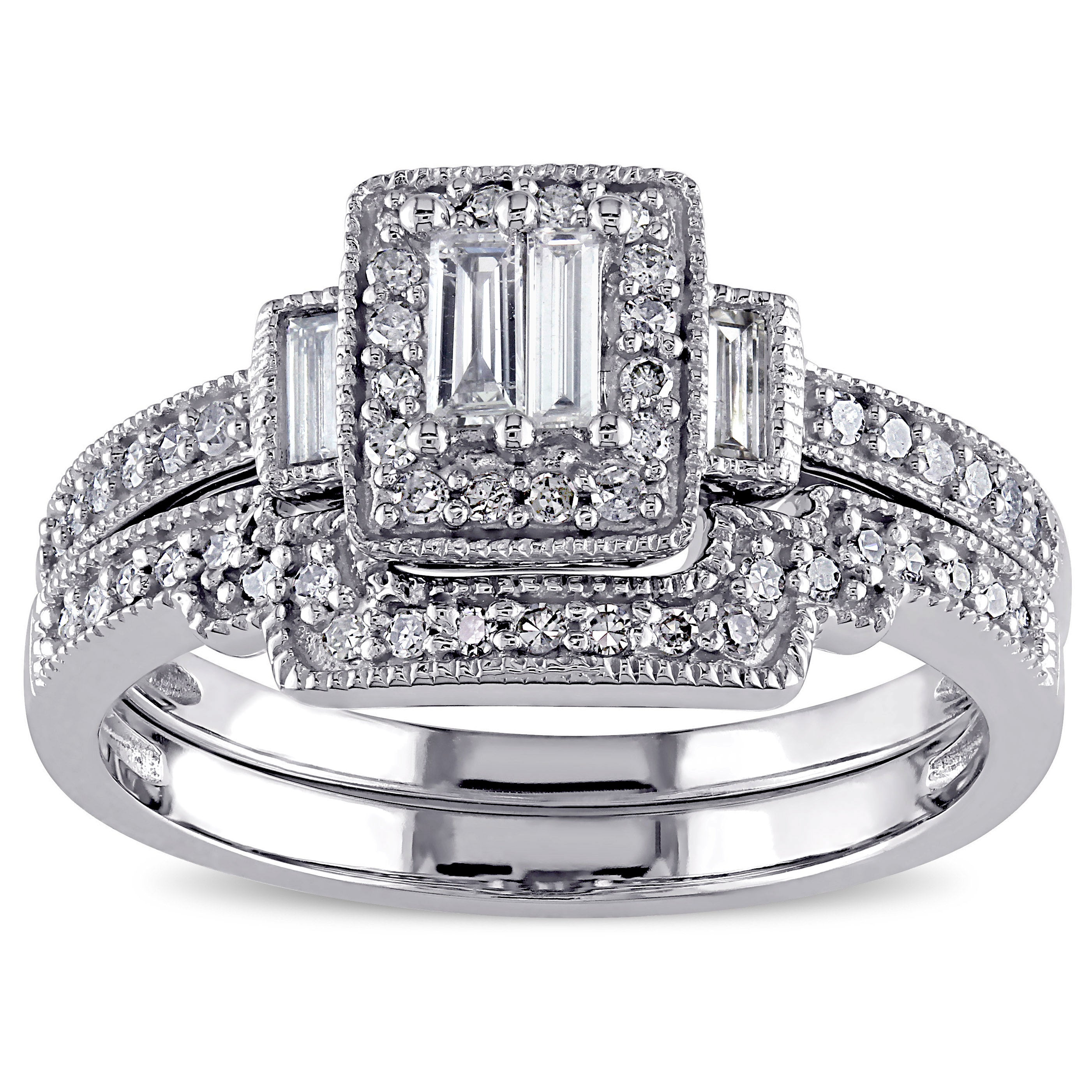 Miadora 10k White Gold 2/5ct TDW Diamond Bridal Ring Set (G-H, I1-I2)