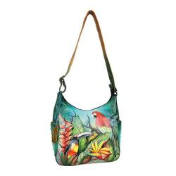 Women's Anuschka Classic Hobo With Studded Side Pockets Tropical Bliss