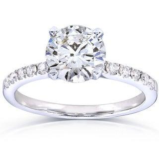 Annello 14k White Gold 1 4/5ct TDW Certified Round Diamond Solitiare Ring (G, SI1)