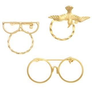Detti Originals Goldtone 3-piece Glasses and Dove Spectacle Brooch Set