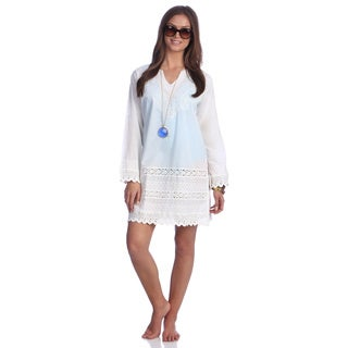 Women's White Cotton Paisley Embroidered Peasant Dress