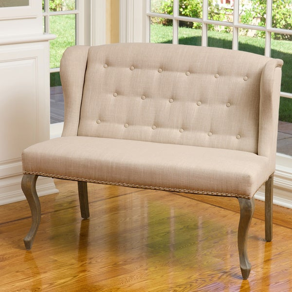 Christopher Knight Home Adrianna Wingback Button Tufted Fabric Loveseat