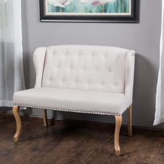 Christopher Knight Home Adrianna Wingback Button-tufted Fabric Loveseat