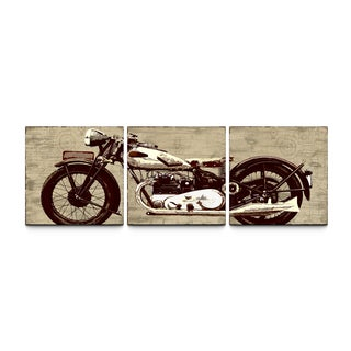 'Motorcycle' 24x72-inch Triptych Canvas Art Print