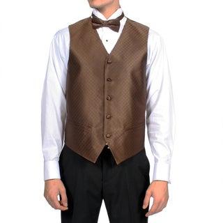 Ferrecci Men's Dark Brown Diamond Pattern 4-piece Vest Set