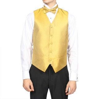 Ferrecci Men's Gold Diamond Print 4-piece Vest Set