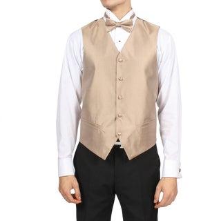 Ferrecci Men's Solid Champagne Pattern 4-piece Vest Set