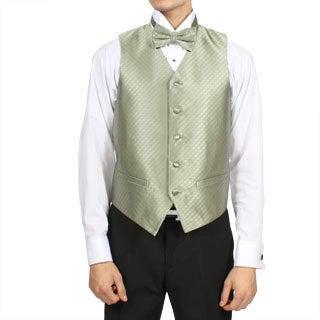 Ferrecci Men's Sage Green Diamond Pattern 4-piece Vest Set