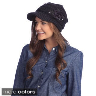 KC Signatures Sequined Floral Visor Front Beanie