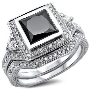 Noori 14k White Gold 2 1/3ct TDW Certified Princess-cut Black/ White Diamond Bridal Set (G-H, SI1-SI2)