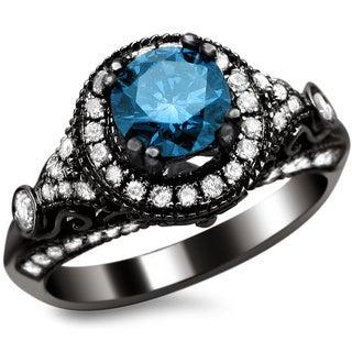Noori 14k Black Gold 1 2/5ct TDW Certified Round-cut Blue/ White Diamond Vintage Style Ring (G-H, SI1-SI2)