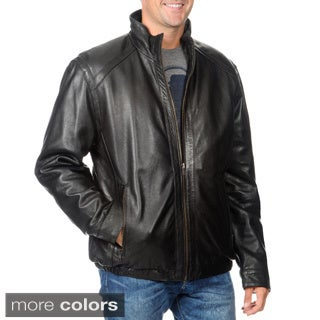Whet Blu Men's Leather Zip-front Stand Collar Jacket