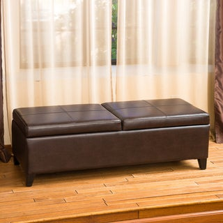 Christopher Knight Home Lena Double Lift Top Leather Storage Ottoman