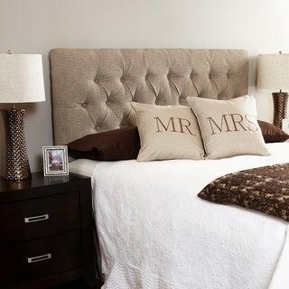 Humble + Haute Hampton Beige Full Diamond Tufted Upholstered Headboard