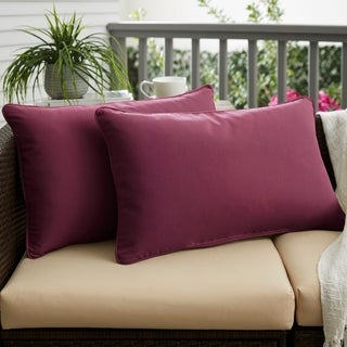 Purple Orchid Corded 13 x 20 inch Indoor/ Outdoor Pillows with Sunbrella Fabric (Set of 2)